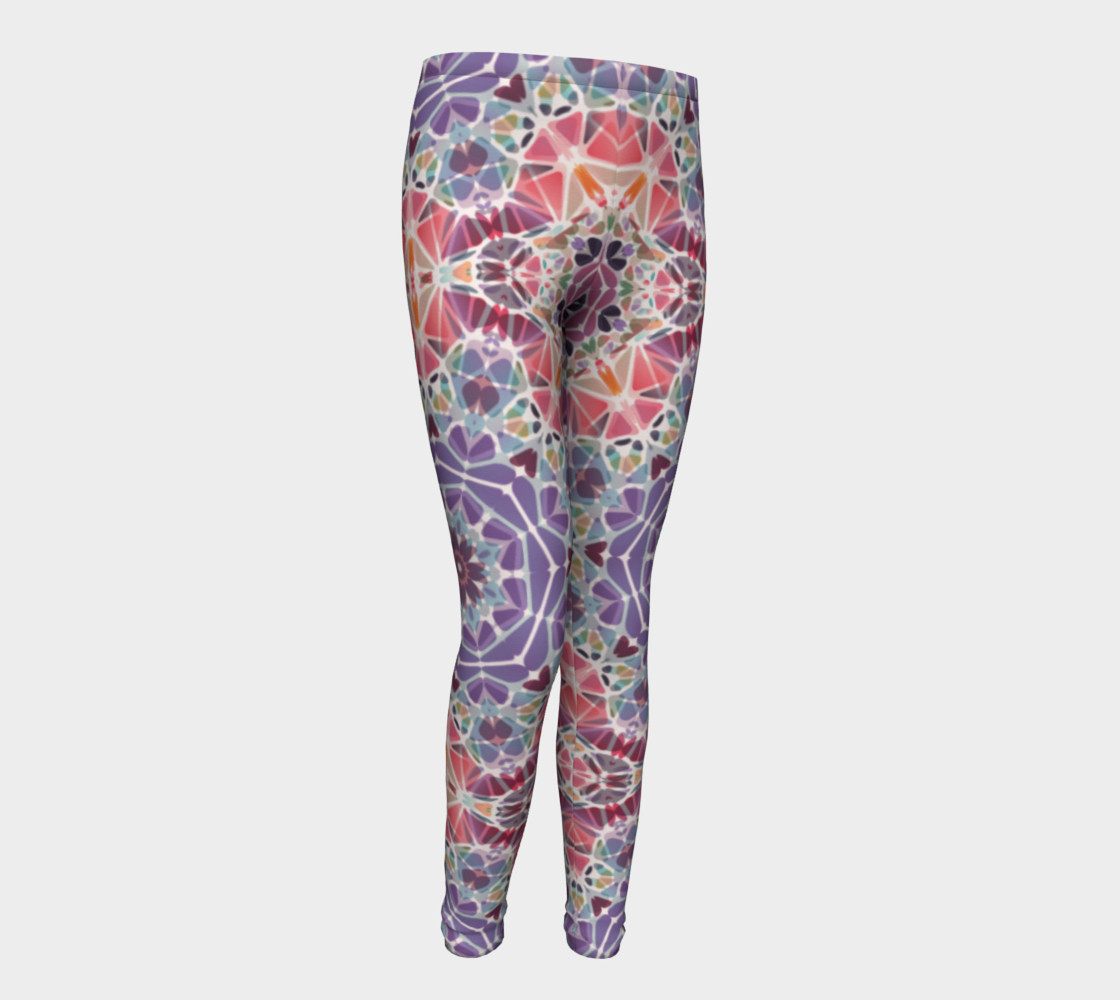 Purple and Pink Kaleidoscope Youth Leggings preview #1