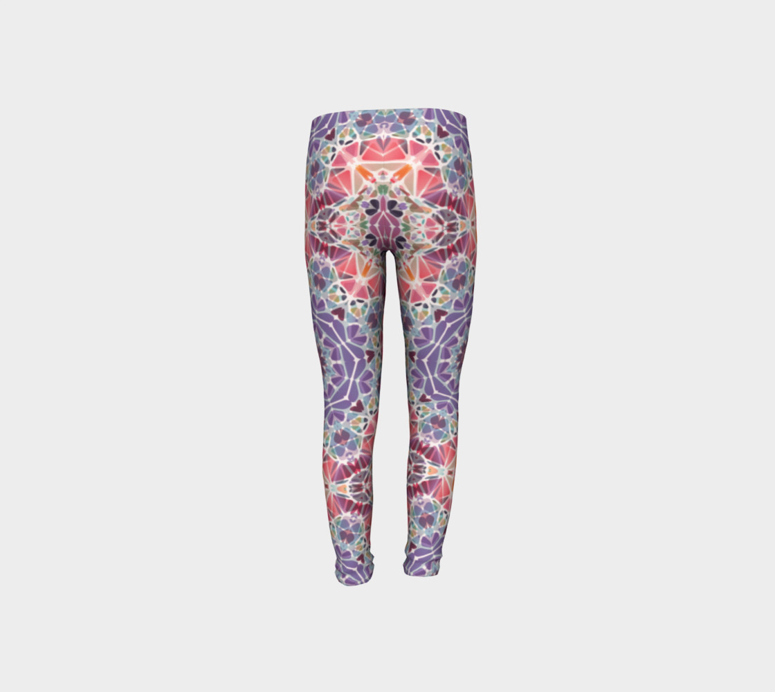 Purple and Pink Kaleidoscope Youth Leggings preview #8