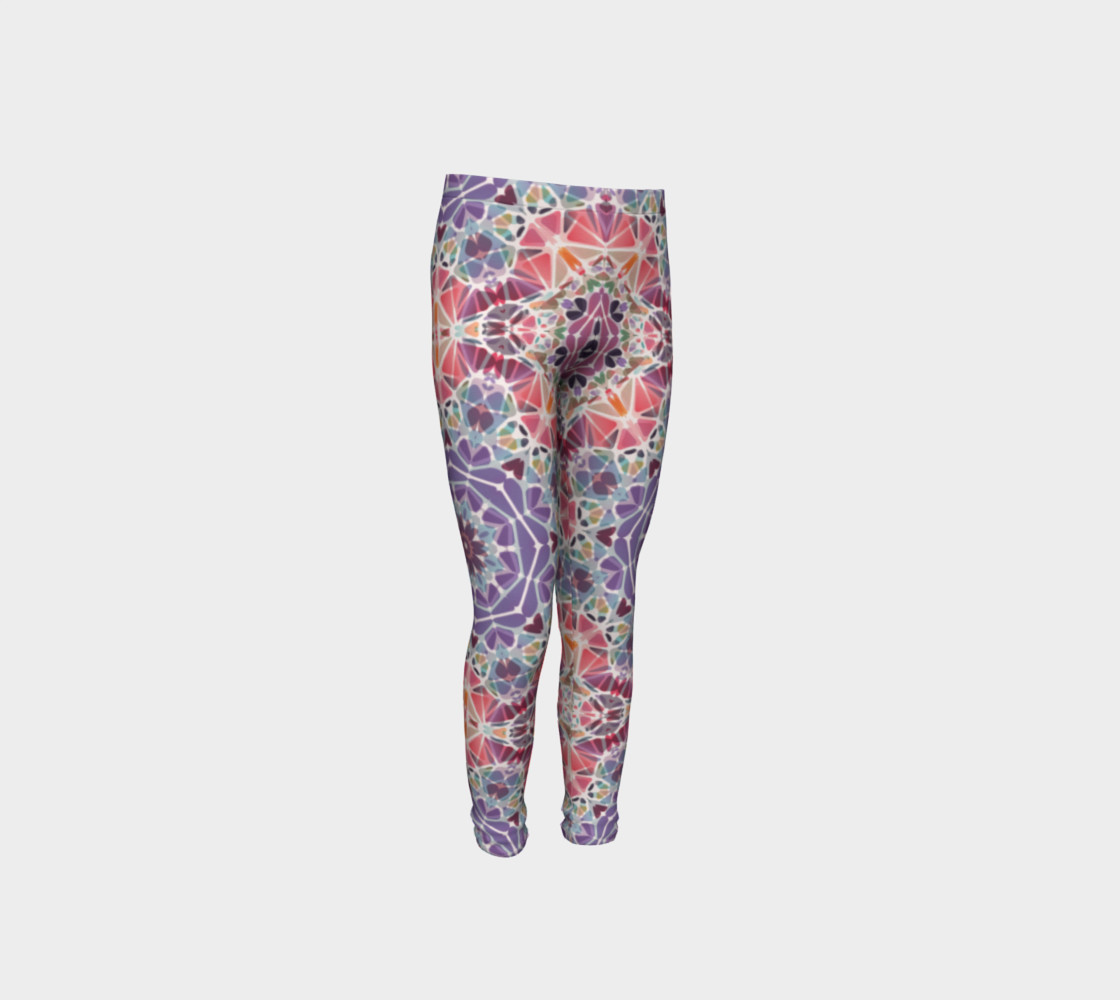 Purple and Pink Kaleidoscope Youth Leggings preview #4