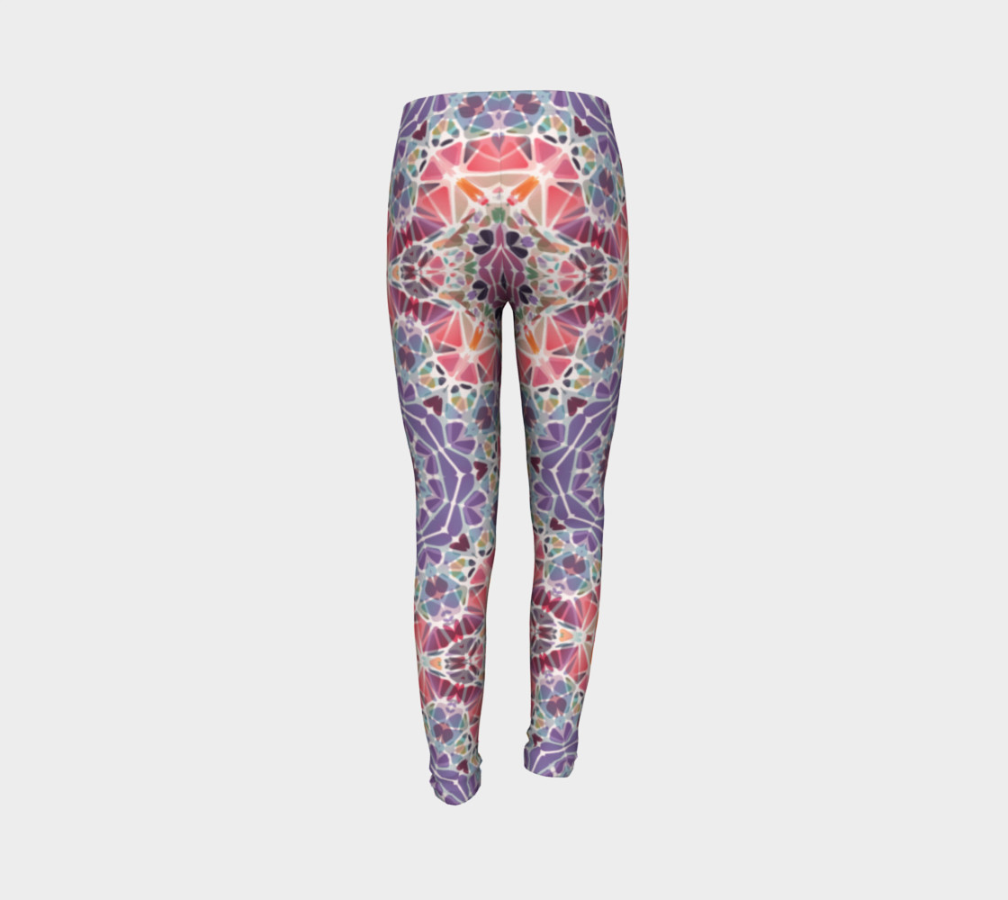 Purple and Pink Kaleidoscope Youth Leggings preview #7