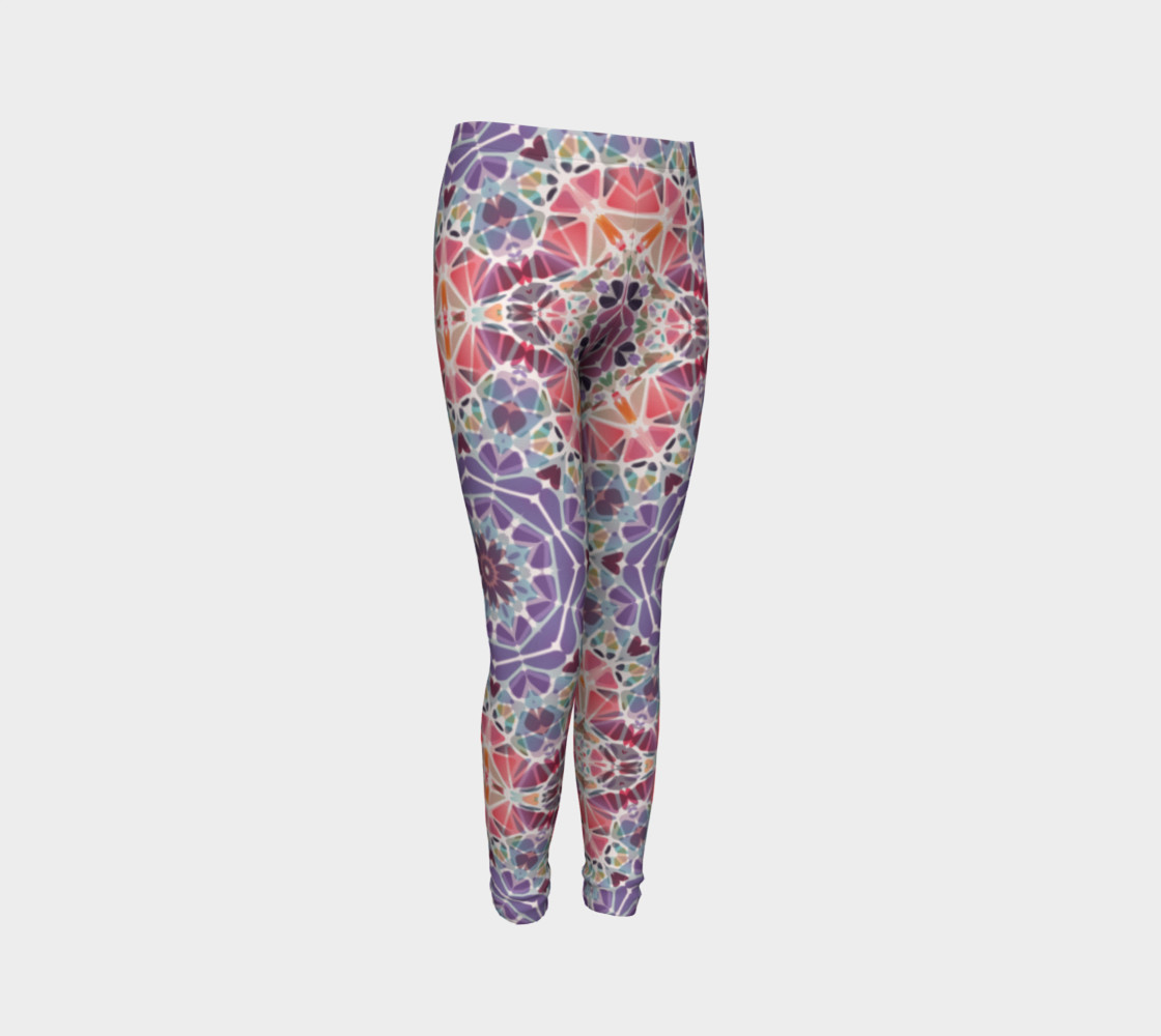 Purple and Pink Kaleidoscope Youth Leggings preview #3