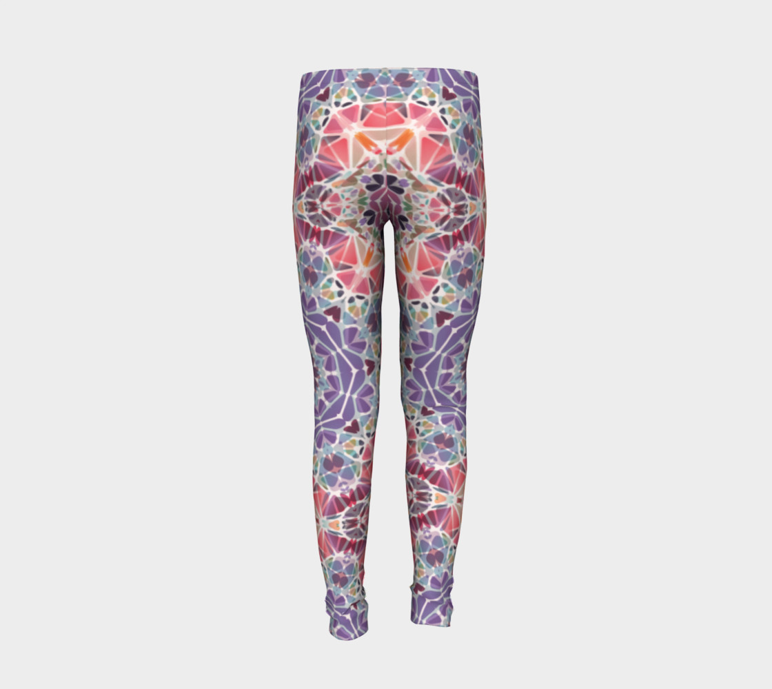 Purple and Pink Kaleidoscope Youth Leggings preview #6