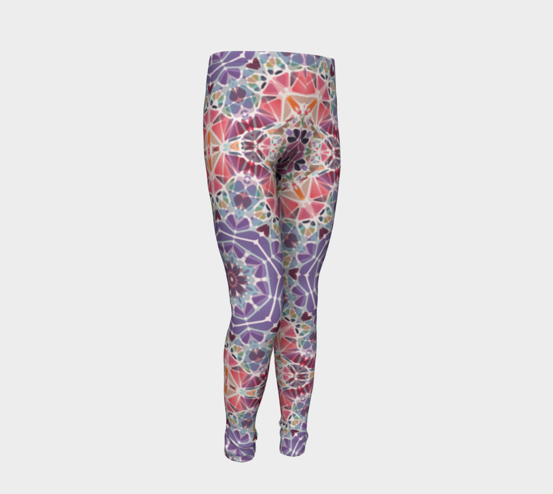 Purple and Pink Kaleidoscope Youth Leggings preview #2