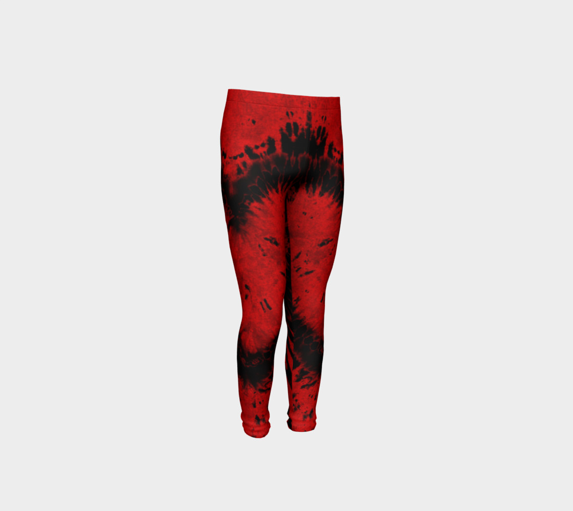 Red Black Heart Youth Leggings preview #4