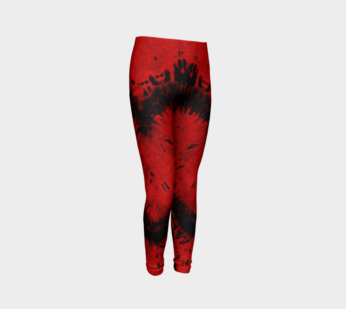 Red Black Heart Youth Leggings preview #3