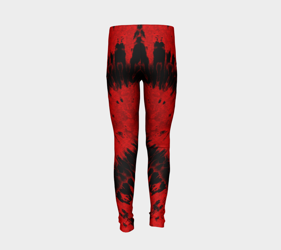 Red Black Heart Youth Leggings preview #6