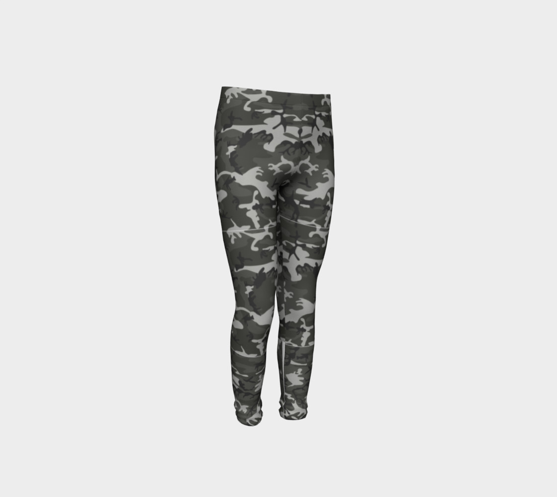 Winter Camo Youth Leggings preview #4