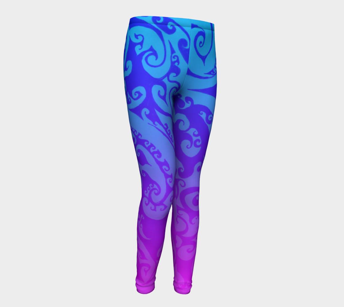 Aperçu de Katara's Favorite, Waterbender Blue Pink Ombre Celtic Spiral, Youth Leggings #1