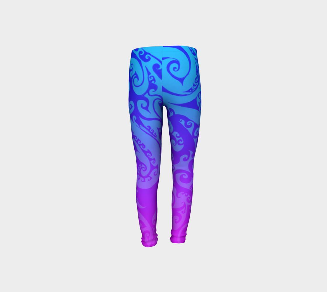 Aperçu de Katara's Favorite, Waterbender Blue Pink Ombre Celtic Spiral, Youth Leggings #8