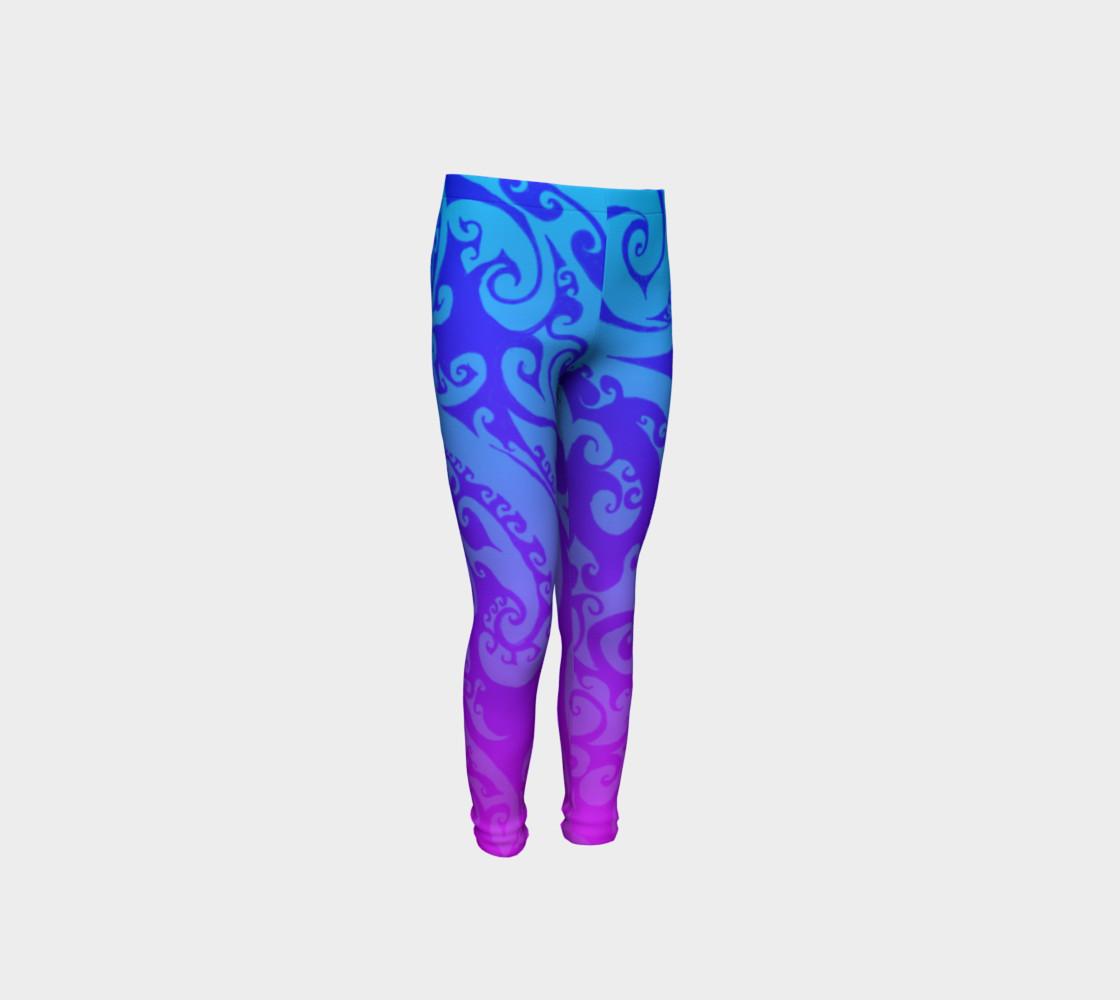 Aperçu de Katara's Favorite, Waterbender Blue Pink Ombre Celtic Spiral, Youth Leggings #4