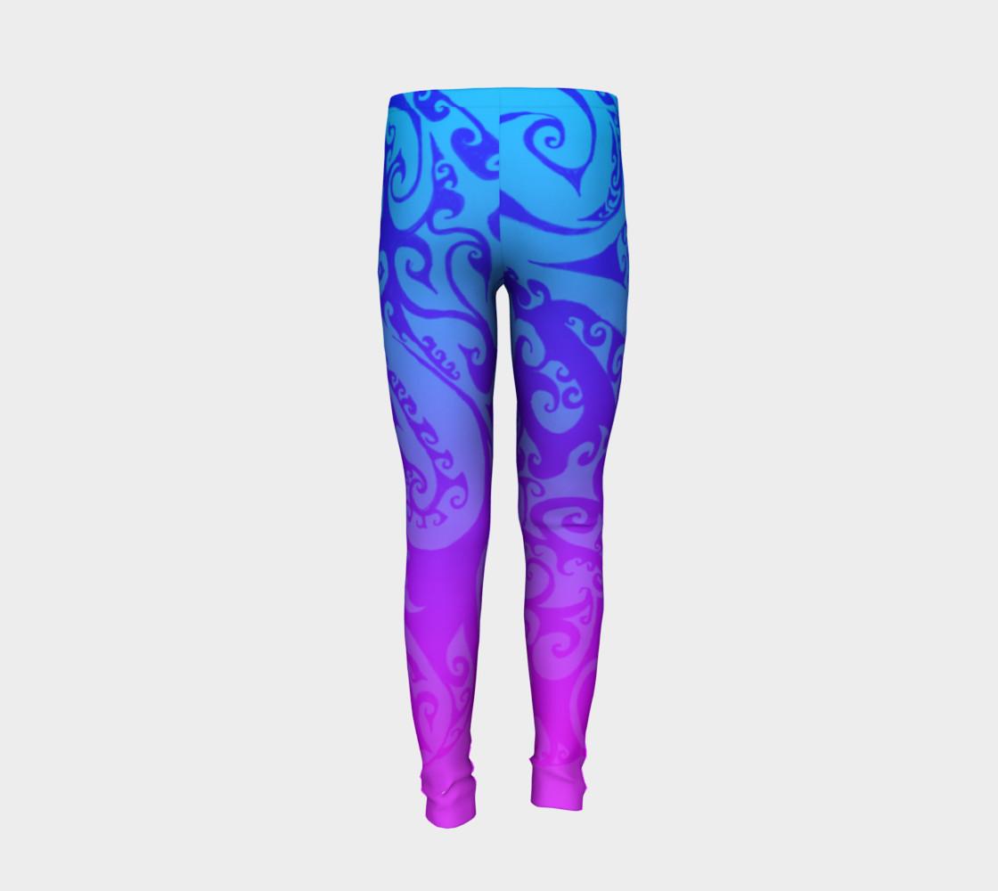 Aperçu de Katara's Favorite, Waterbender Blue Pink Ombre Celtic Spiral, Youth Leggings #6