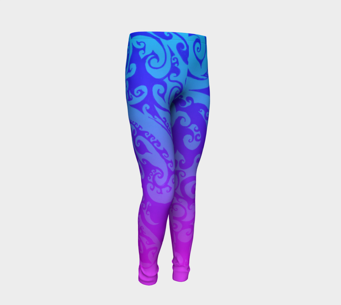 Aperçu de Katara's Favorite, Waterbender Blue Pink Ombre Celtic Spiral, Youth Leggings #2