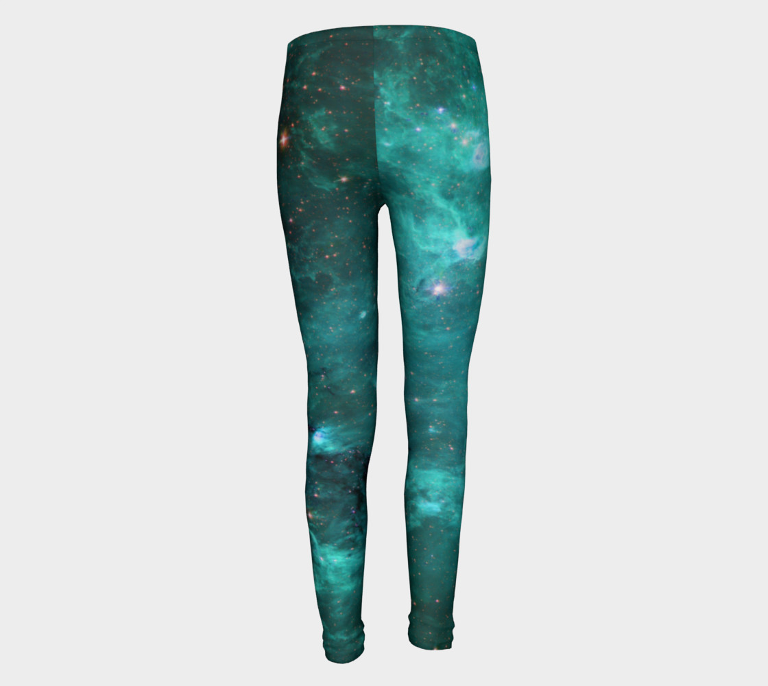 North America Nebula Infrared Turquoise Youth Leggings preview #5