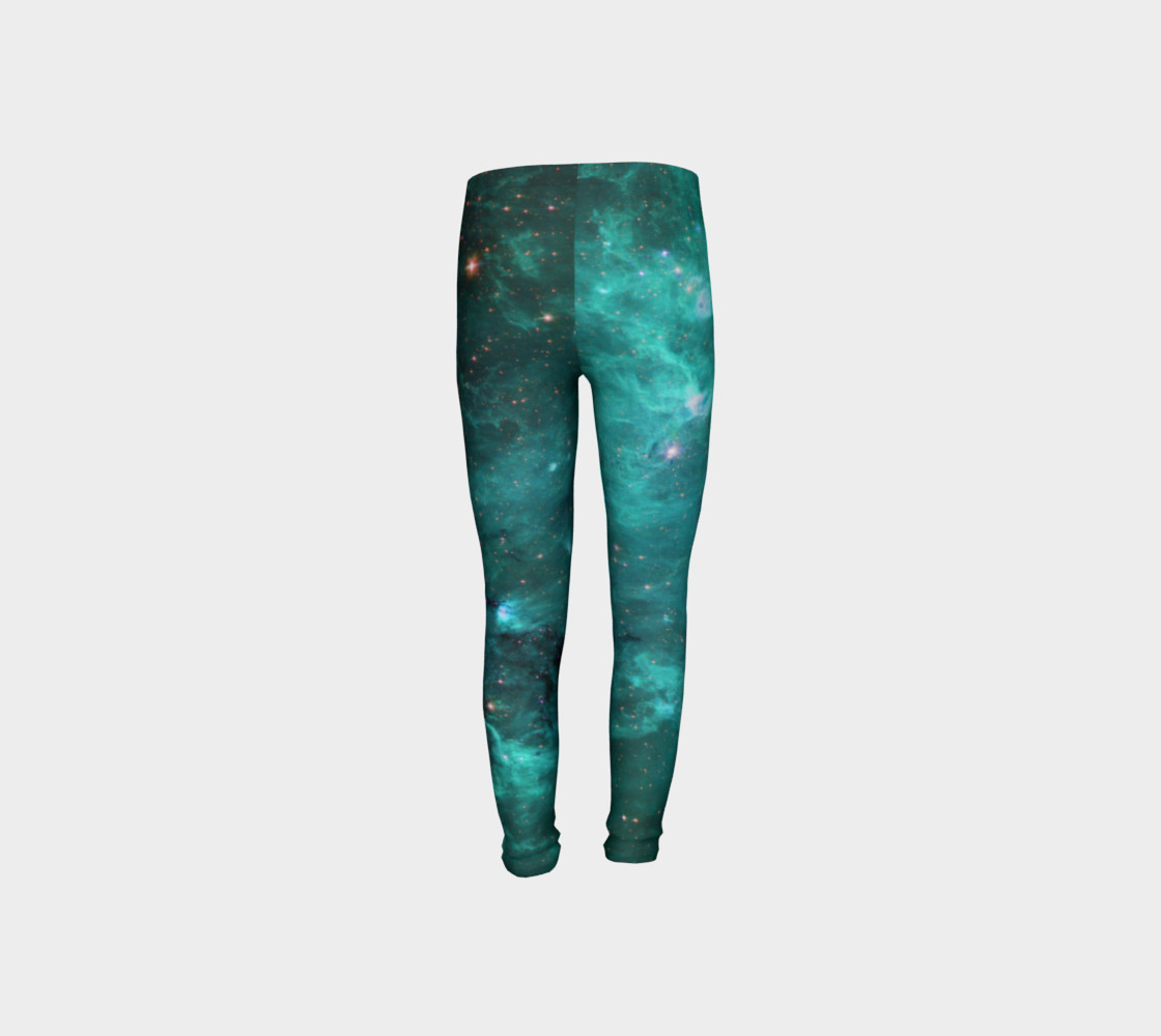 North America Nebula Infrared Turquoise Youth Leggings preview #8