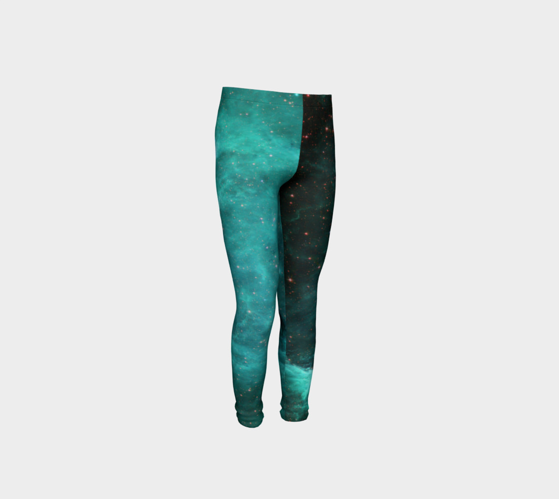 North America Nebula Infrared Turquoise Youth Leggings preview #4