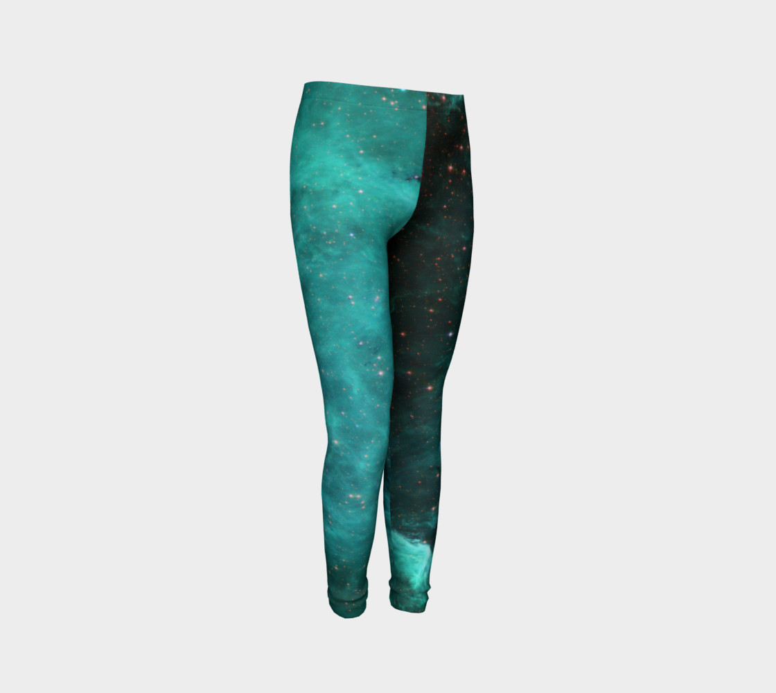 North America Nebula Infrared Turquoise Youth Leggings preview #3