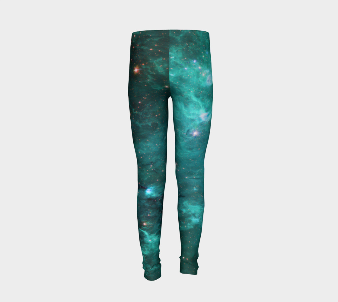 North America Nebula Infrared Turquoise Youth Leggings preview #6