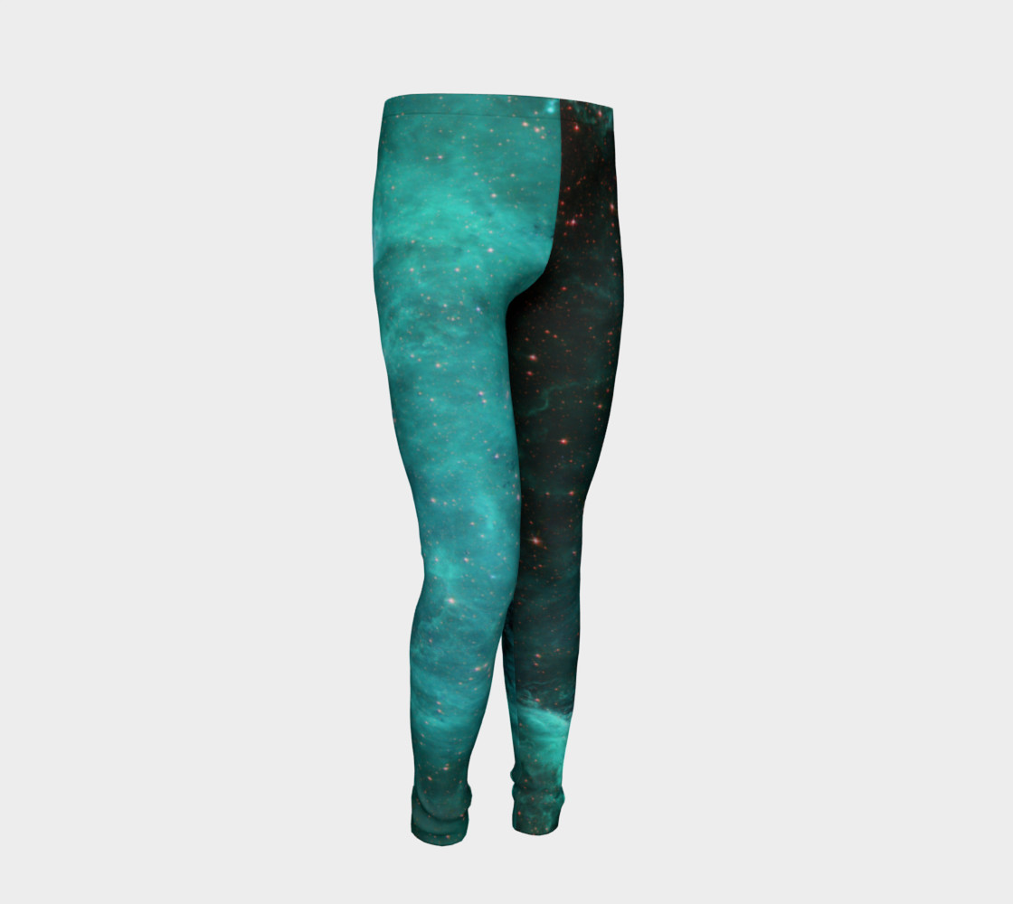 North America Nebula Infrared Turquoise Youth Leggings preview #2