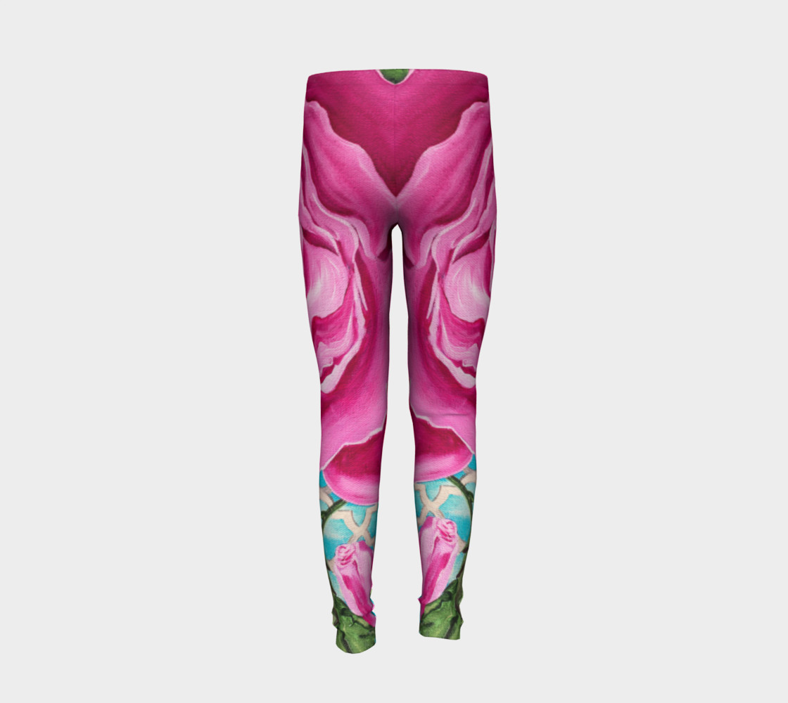 Pink Rose Youth Leggings preview #6