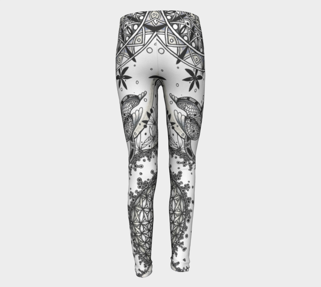 Dragonfly Mandala Floral Girls Leggings preview #5