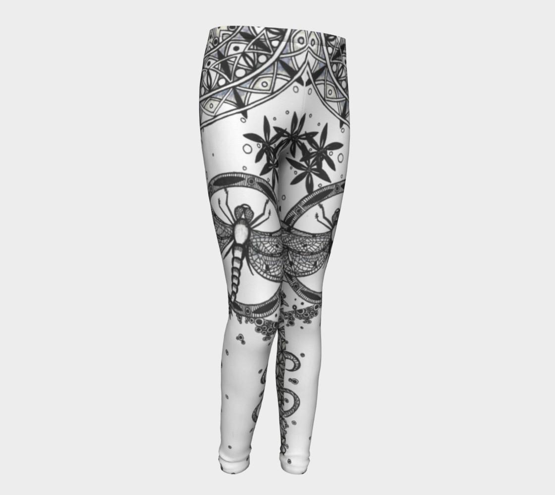 Dragonfly Mandala Floral Girls Leggings preview #1
