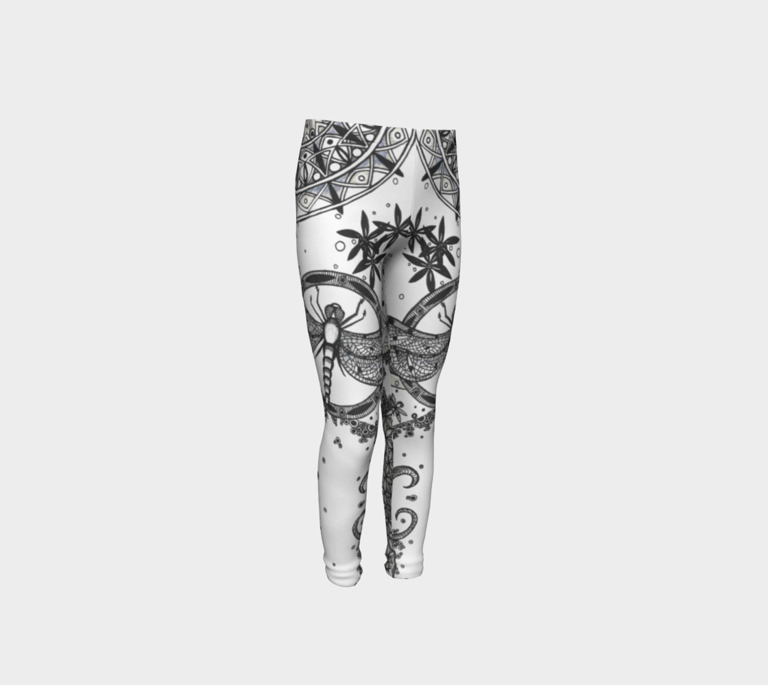 Dragonfly Mandala Floral Girls Leggings 3D preview