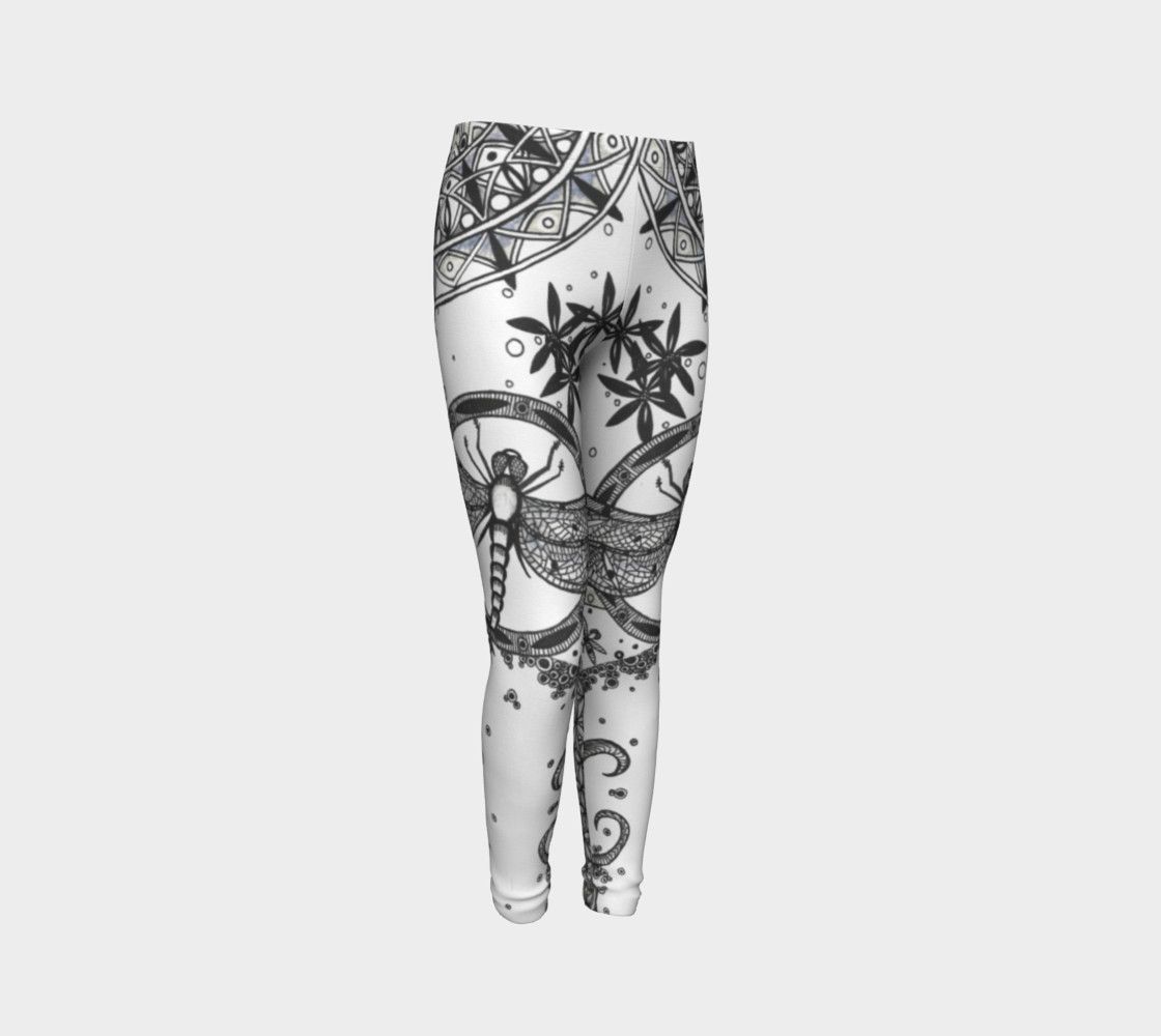 Dragonfly Mandala Floral Girls Leggings preview #3