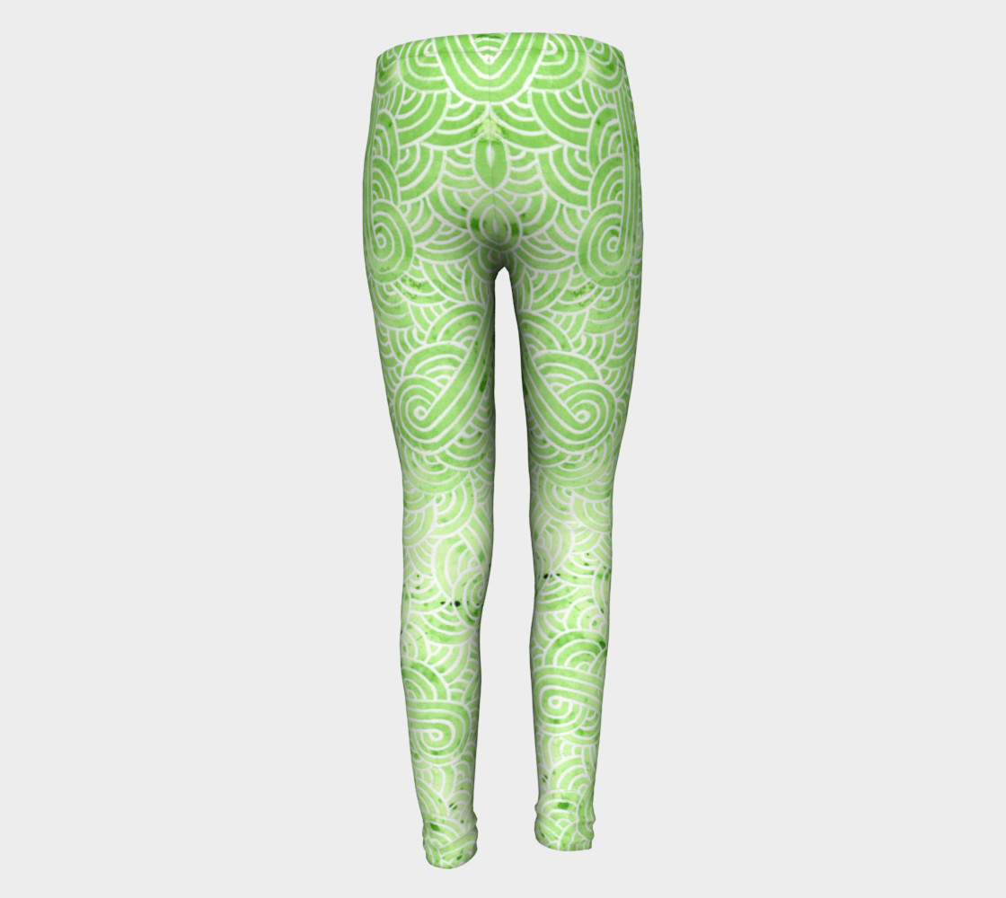 Greenery and white swirls doodles Youth Leggings preview #5