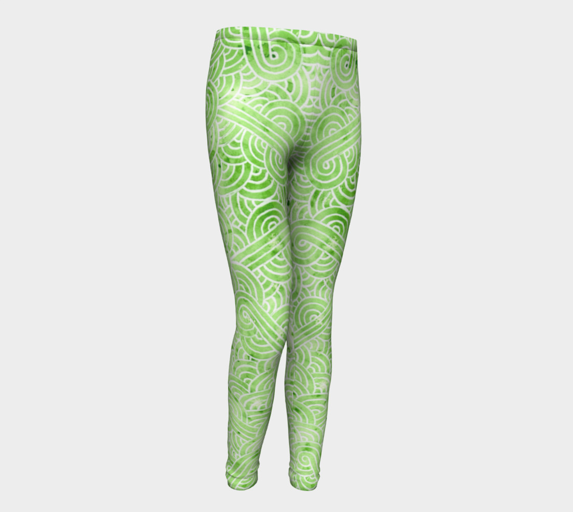 Greenery and white swirls doodles Youth Leggings preview #1