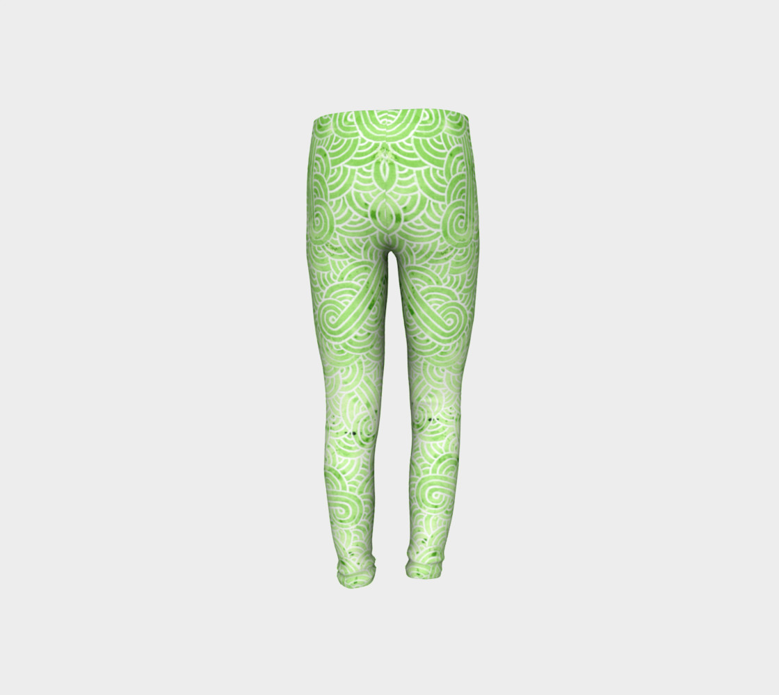 Greenery and white swirls doodles Youth Leggings preview #8