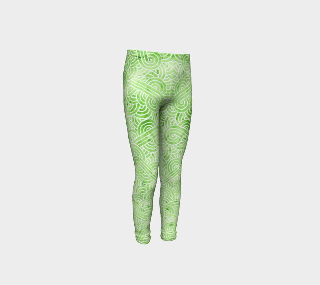 Greenery and white swirls doodles Youth Leggings preview #4