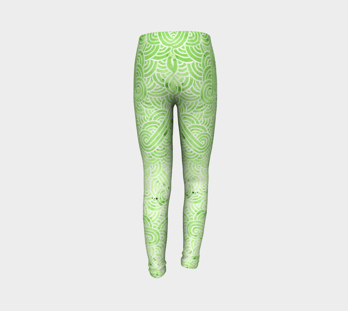 Greenery and white swirls doodles Youth Leggings preview #7