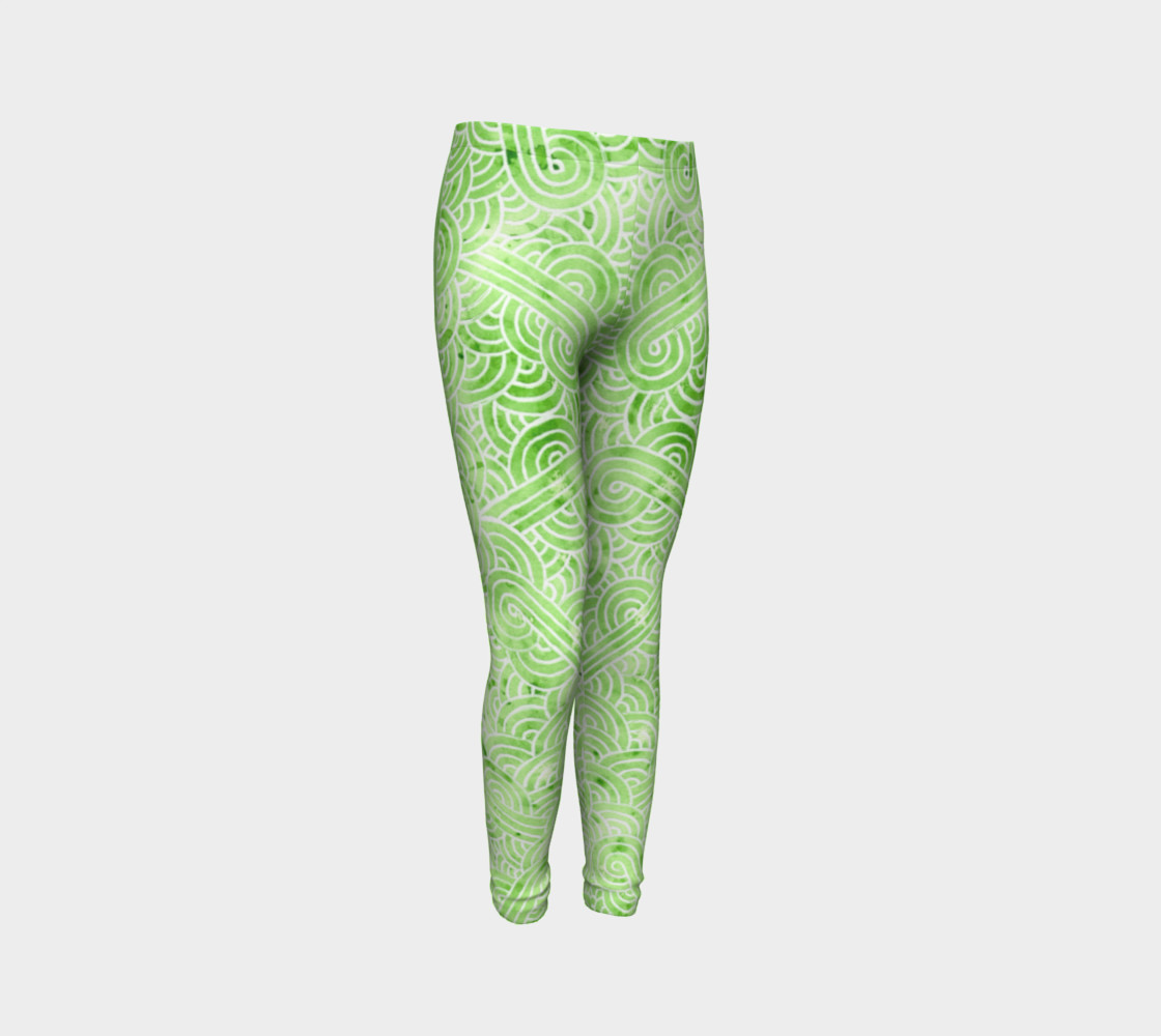 Greenery and white swirls doodles Youth Leggings preview #3