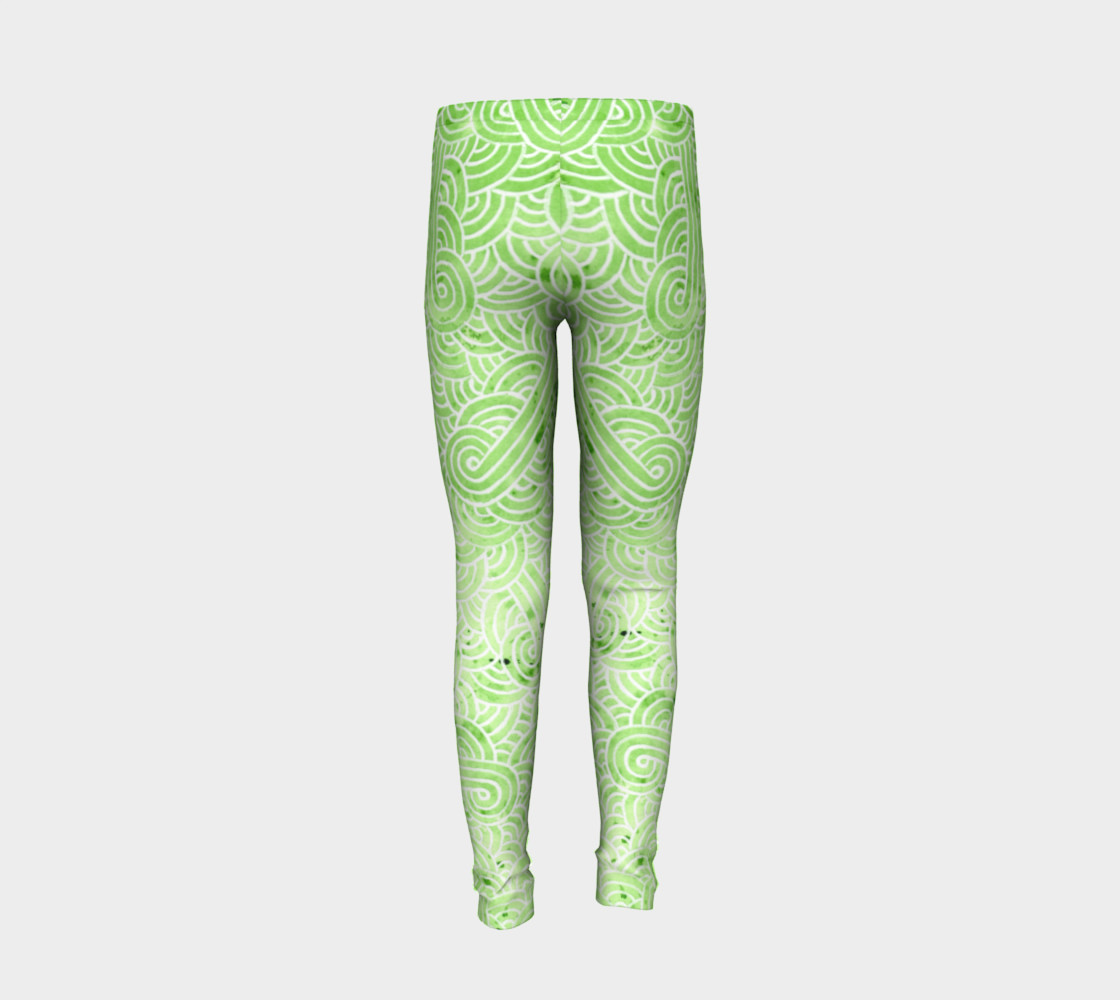 Greenery and white swirls doodles Youth Leggings preview #6