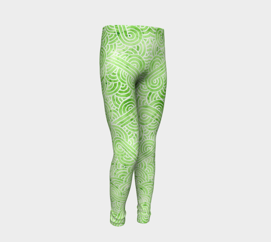 Greenery and white swirls doodles Youth Leggings preview #2