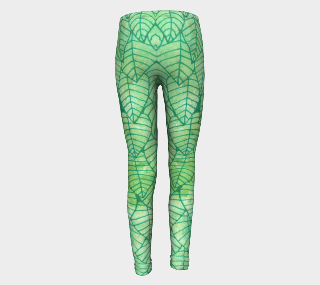 Green foliage Youth Leggings preview #5