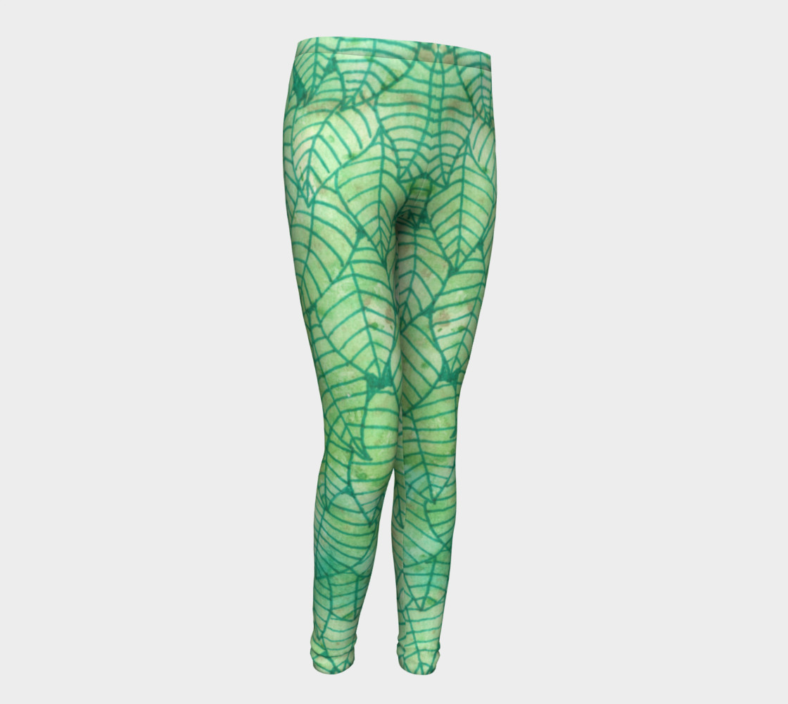Green foliage Youth Leggings preview #1