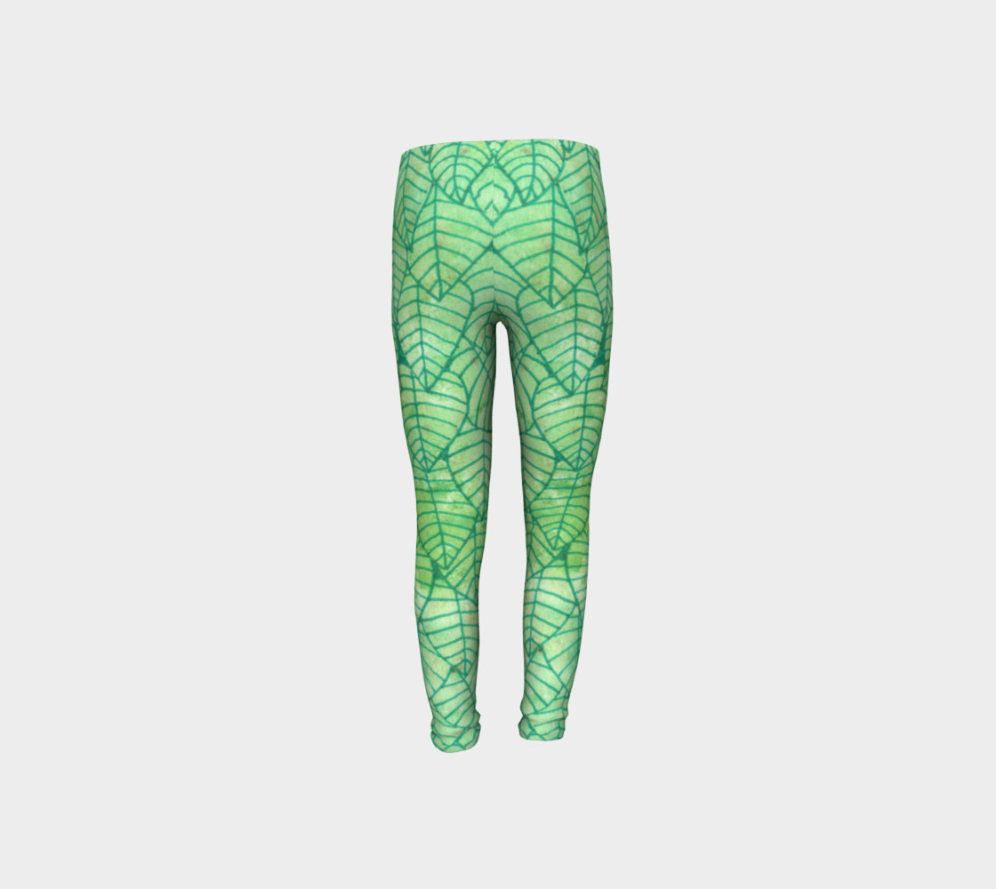 Green foliage Youth Leggings preview #8