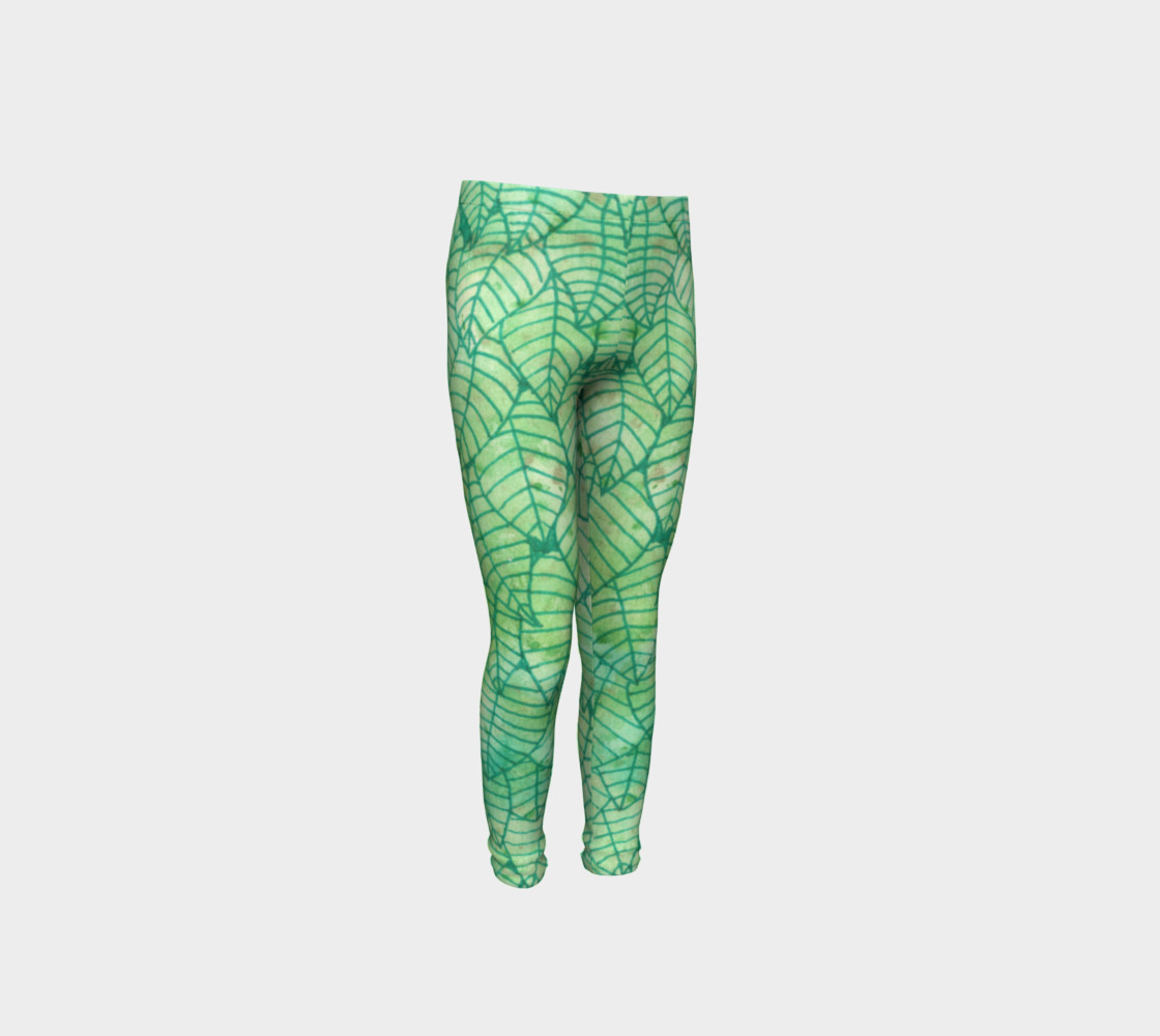 Green foliage Youth Leggings preview #4