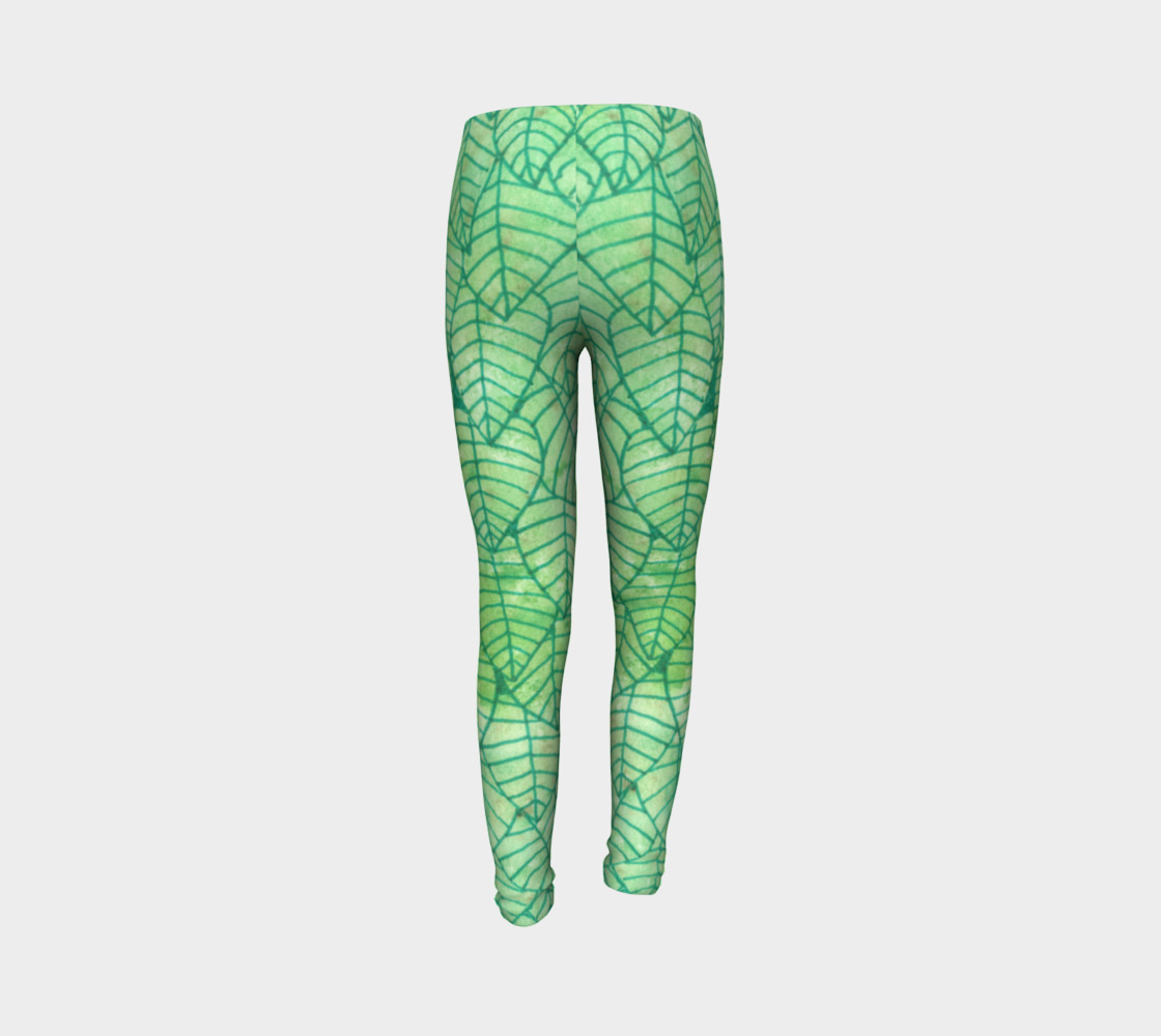 Green foliage Youth Leggings preview #7
