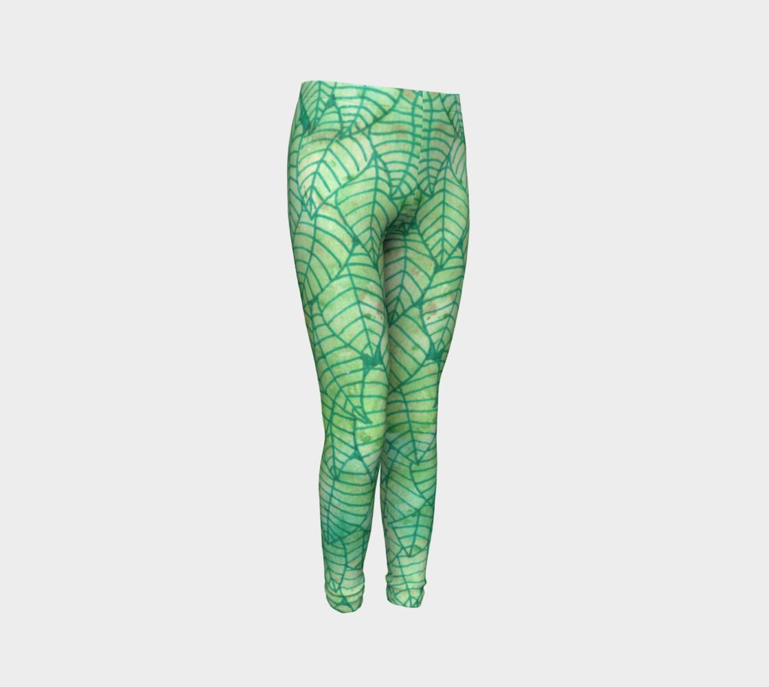 Green foliage Youth Leggings preview #3