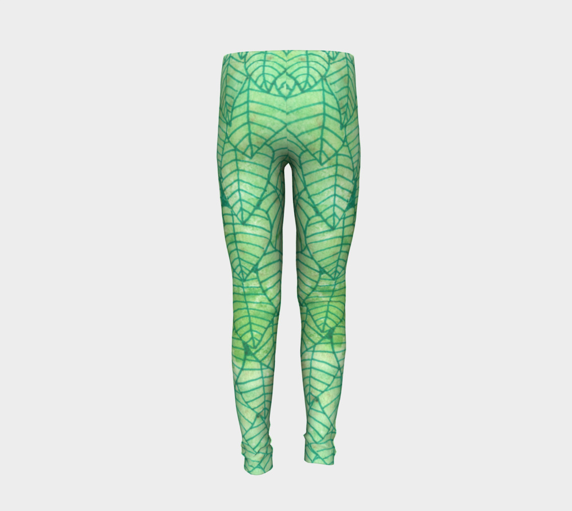 Green foliage Youth Leggings preview #6