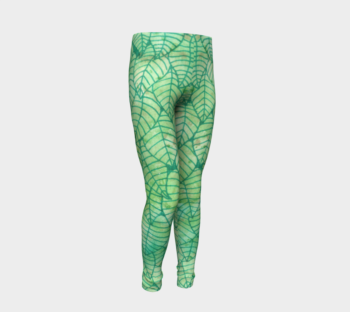 Green foliage Youth Leggings preview #2