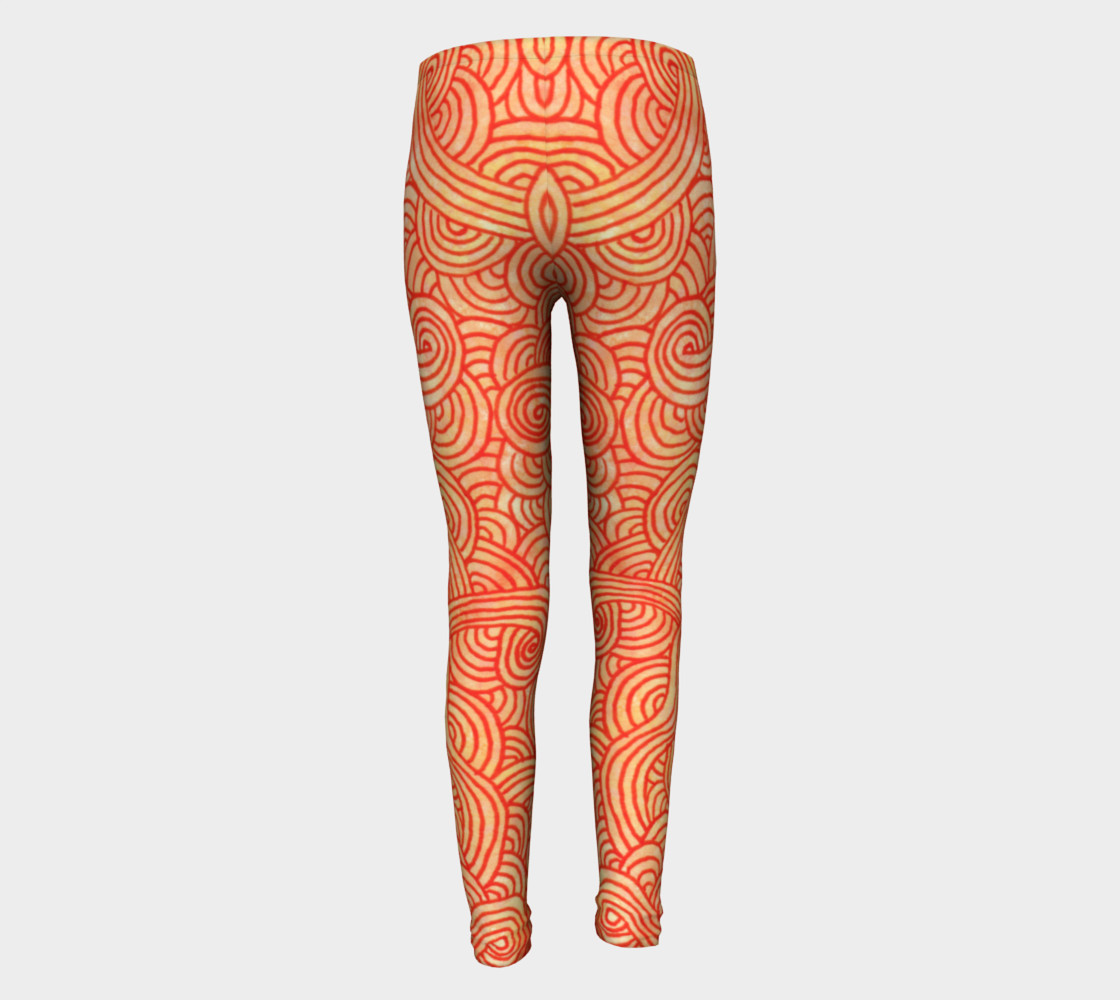 Orange and red swirls doodles Youth Leggings preview #5