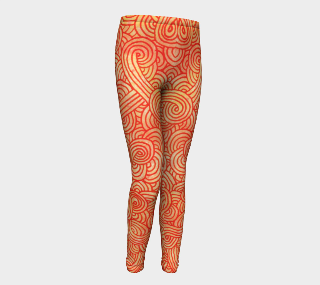 Orange and red swirls doodles Youth Leggings preview #1