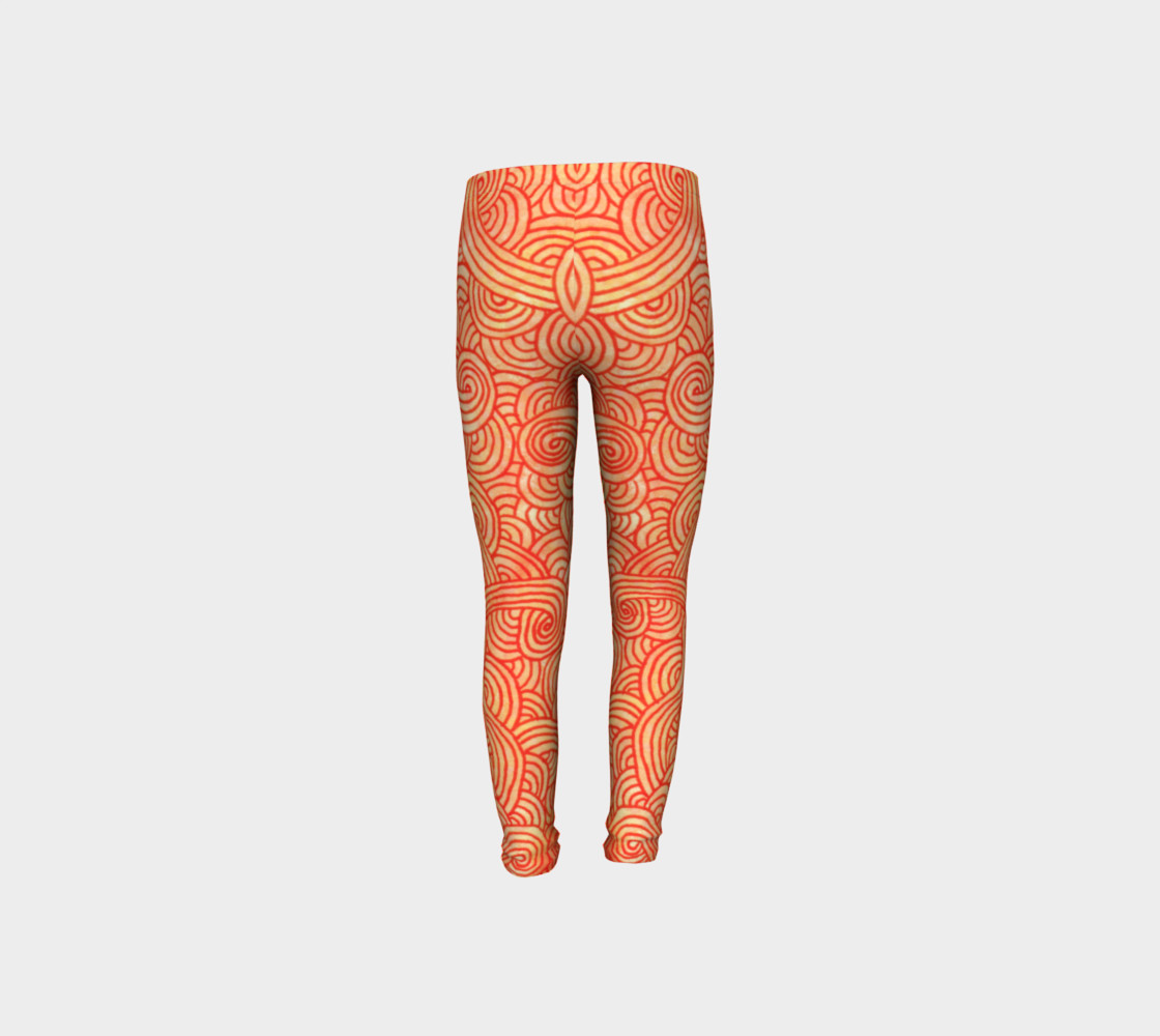 Orange and red swirls doodles Youth Leggings preview #8