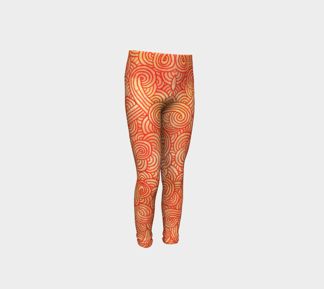 Orange and red swirls doodles Youth Leggings preview #4