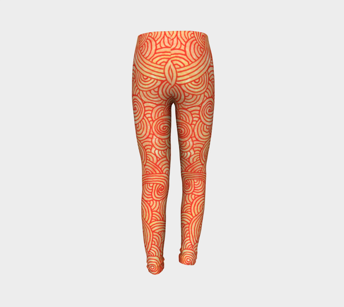 Orange and red swirls doodles Youth Leggings preview #7