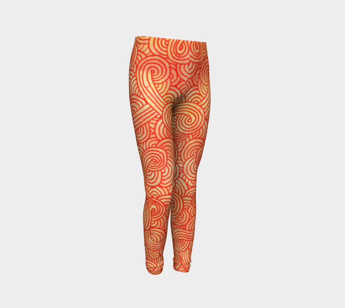 Orange and red swirls doodles Youth Leggings preview #3