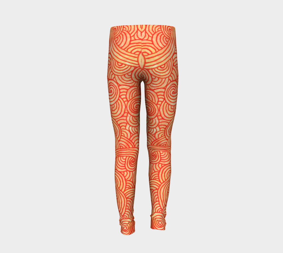 Orange and red swirls doodles Youth Leggings preview #6